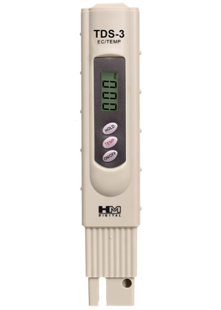 HM Digital TDS-3 Handheld TDS Meter with Carrying Case with 0 – 9990 ppm (mg/L) Range and +/- 2% Accuracy