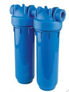 """WECO High Pressure Twin Blue Housing for Standard 2.5"""" x 10"""" Cartridges - Max.125 PSI"""