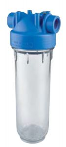 """Atlas Filtri Blue - Clear Sump Housing w/ Pressure Relief 2.5"""" x 10"""" at 1/4"""" NPT In/Out"""