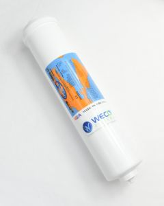 """WECO ALK-2512-38QC Inline Alkaline Filter Cartridge for Remineralization with 3/8"""" Quick Connect In/Out Ports"""