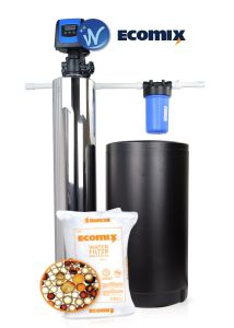 WECO Whole House Backwash Filter / Softener with EcoMix Advanced Softener Media and Big Blue Sediment Pre-Filter for the Reduction of Hardness, Iron, Manganese and Tannins from Potable Water