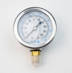 "Water Pressure Gauge - 2.5"" Face - 1/4"" MNPT Bottom Mount"
