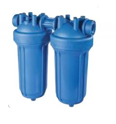 """Atlas Filtri DP BIG PS PM 10 DUO - 1"""" NPT IN AB - Blue Blue Twin Series Housing"""