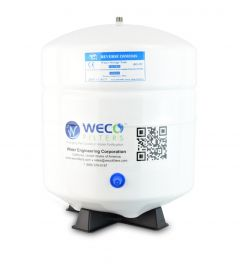 """4.5 Gallon White Pressure Tank -1/4"""" SS for Under Sink Water Filter Systems"""