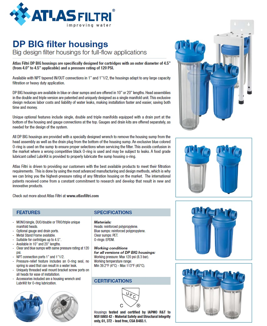 Atlas Filtri DP Big Specifications
