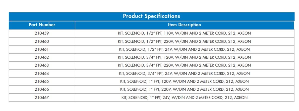 ASCO 212 Solenoid Kit Specs